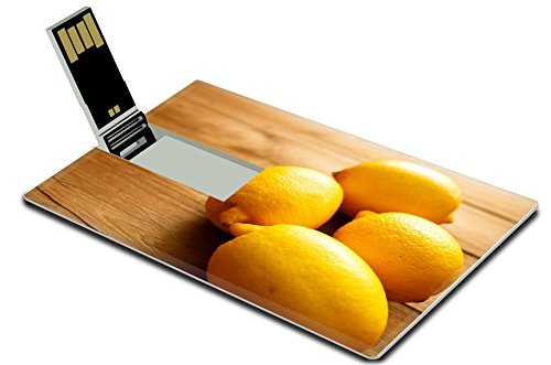 Luxlady 32GB USB Flash Drive 2.0 Memory Stick Credit Card Size Home grown lemons on wood IMAGE 36089332 (Hello Kitty Fruit Arrangement)
