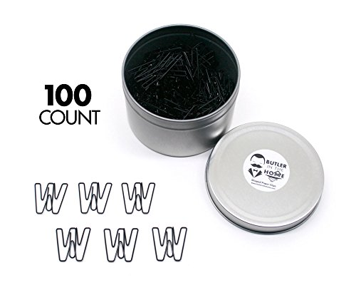 Butler in the Home Pick Your Favorite A-Z Alphabet Letter or 0-9 Number - 100 Count Black Colored Paper Clips for Initials or Birthdate - Comes in Round Tin with ()