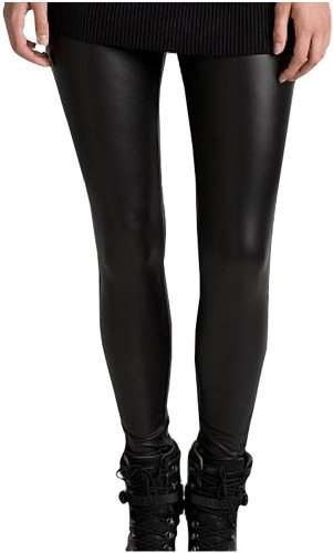 ToBeInStyle Women's Metallic Clubwear Style Leggings - Medium - Black