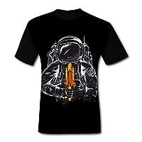 TianLX Men's Cosmonaut O-neck Print Shirt Leisure Short Sleeve