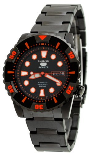Seiko Men's SNZJ21 Seiko 5 Stainless Steel Black Dial (Diving Automatic Orange Dial)