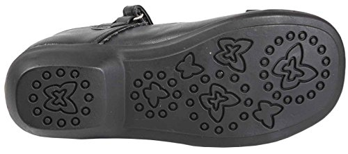 MARY JANE SCHOOL GIRLS SHOES SIZE BOW 4 VELCRO LEATHER CHILDRENS 12 FAUX junior BLACK wqAxq6XY