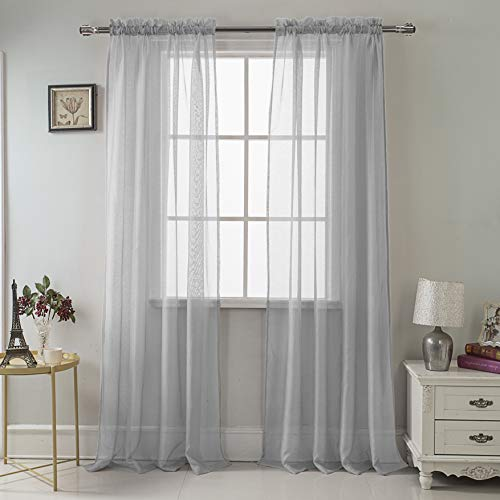 RT Designers Collection Celine Sheer 55 x 90 in. Rod Pocket Curtain Panel, Silver