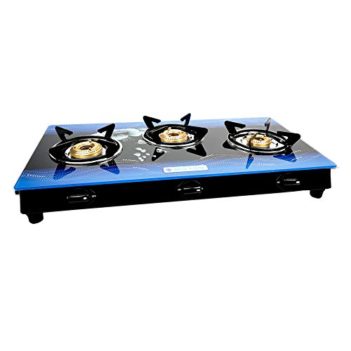 Milton Premium 3 Burner Glass Top (Blue) Gas Stove with MS Frame & Brass Burners (ISI Certified)