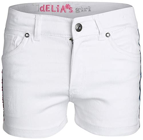 (dELiAs Girls Stretch Denim Shorts, White with Pink Sequins, Size 7')