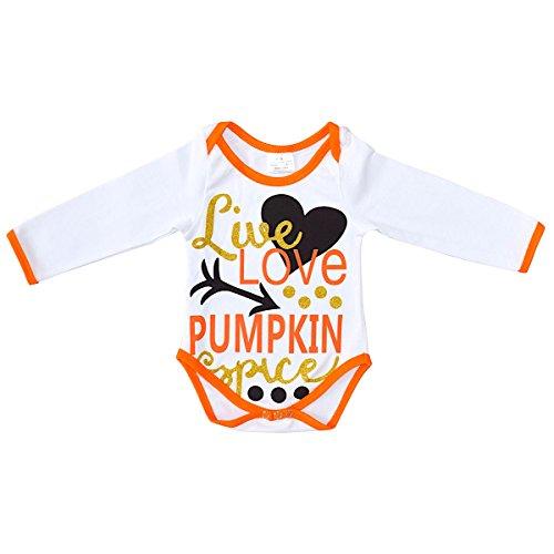 Unique Baby Girls Pumpkin Spice Halloween One-Piece Bodysuit (12 Months, - Outfits Girls Halloween Spice