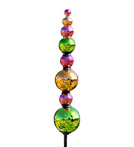 Indoor Outdoor 2 in 1 Colorful Glass Finial Ornaments Yard and Garden Decor Set of 2 Green