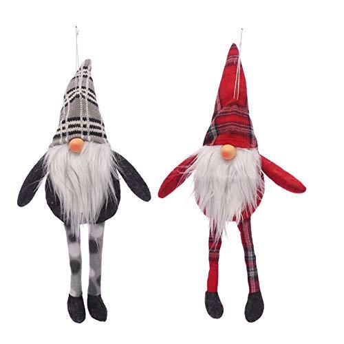(MKHDD Christmas Forest Old Man Santa Long Beard Doll Window Decoration Supplies Christmas Children Gift,2 Set of)
