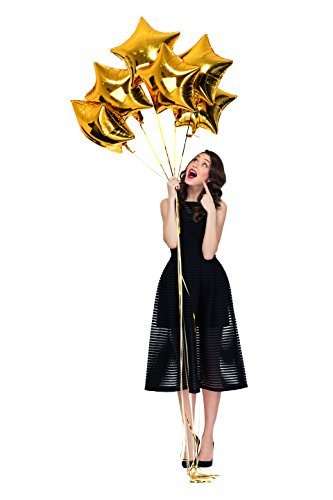 Treasures Gifted Pack of 6 Gold Mylar Foil Balloons for Adults Twinkle Star Shaped Over The Moon Decorations Baby Girl or Boy Shower Birthday Party Bachelor King Celebration