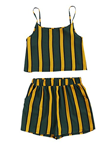 MAKEMECHIC Women's 2 Piece Outfit Summer Striped V Neck Crop Cami Top with Shorts Multi XL