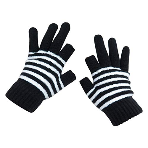 (Ganenn Womens Men Winter Warm Cable Stripe Knit Gloves, Phone Texting Touch Screen Mittens (Black))