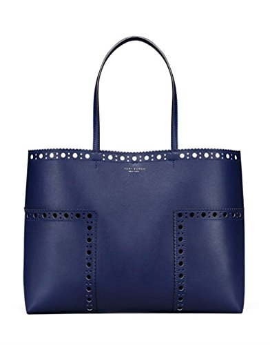 Tory Burch Block T Brogue Tote (Navy / - Tory Burch Navy