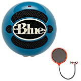 Blue Microphones Snowball USB Microphone - Neon Blue (SNOWBALL-NB) with Deco Gear Universal Pop Filter Microphone Wind Screen with Mic Stand Clip