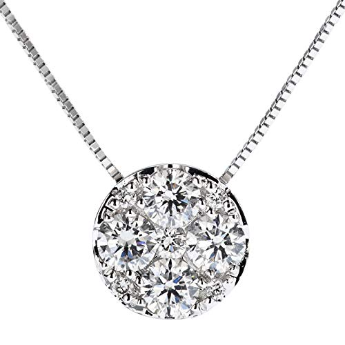 Diamond Necklace Circle Platinum - Unique 18-k platinum group set with 0.35ct diamond necklace lucky circle diamond pendant ladies ornaments birthday gift present necklace for women
