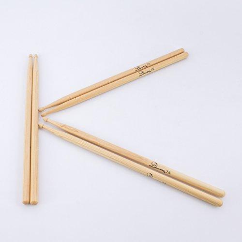 3 Paar Drumsticks HICKORY PERCH SKIN Set aus Hickory, 7A, natur - Drumstick Set mit 6 Walnuss Stöcke / 3er Paar dünne 7 A Hickory Schlagzeugsticks - klangbeisser