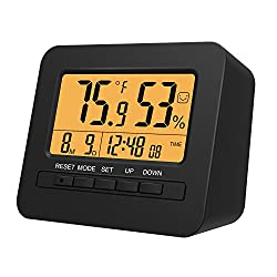 MoKo LED Digital Alarm Clock, Multifunctional Electronic Home Decor Desktop Table Bedside Clock Calendar, Snooze/Sleep/Kitchen Timer, Indoor Thermometer/Hygrometer with Backlight Monitor - BLACK