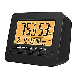 MoKo LED Digital Alarm Clock, Multifunctional Electronic Home Decor Desktop Table Bedside Clock Calendar, Snooze/Sleep/Kitchen Timer, Indoor Thermometer/Hygrometer with Backlight Monitor - Black