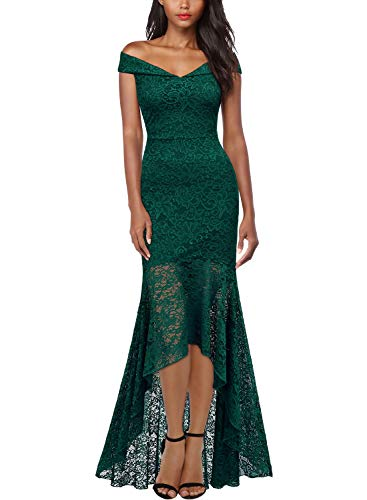 Miusol Women's Vintage Off Shoulder Floral Lace Evening Cocktail Maxi Dress,Small,C-Dark Green (Green Wedding Dress)