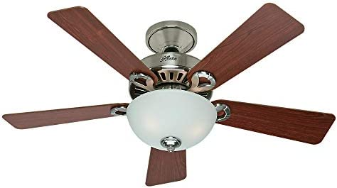 Hunter 28777 Ridgefield 44 in. Brushed Nickel Indoor Ceiling Fan with Swirled Marble Bowl Light Kit