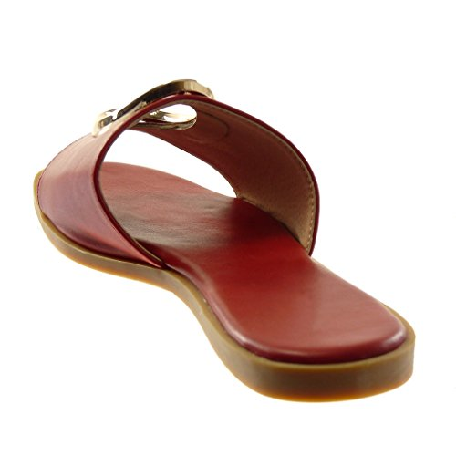 Angkorly Women's Fashion Shoes Sandals Mules - Slip-On - Perforated - Golden Flat Heel 1 cm Red FJHzqftiQN