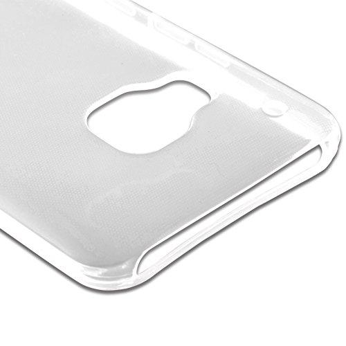 Cadorabo - HTC ONE M9 (3.Generación) Cubierta protectora de silicona TPU en diseño AIR - Case Cover Funda Carcasa Protección en TRANSPARENTE-AZÚL TRANSPARENTE
