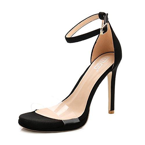 Femme Cm Creuses Fines La noir Chaussures Sandales avec L'Extérieur Rosée À avec D'Été Sandales Supérieure À Haut 10CM Orteil Élevée Faible À Et À Claire GAOLIM 8 Talon Zw4T6qp
