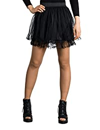 ililily Women Mini Pleated Ruffle Tulle Tutu Multi-Layered Mesh Petticoat Skirt
