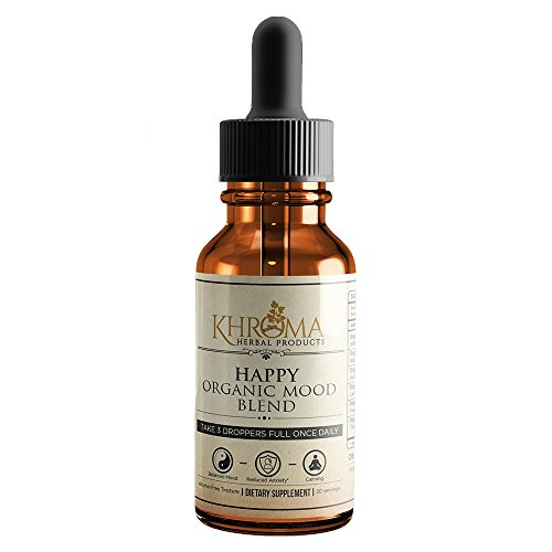 HAPPY Organic Mood Supplement – by Khroma Herbs – 30 Servings – Made in USA – Packed in a Glass Bottle For Sale