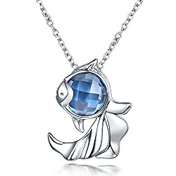 White Gold Natural London Blue Topaz Pendant