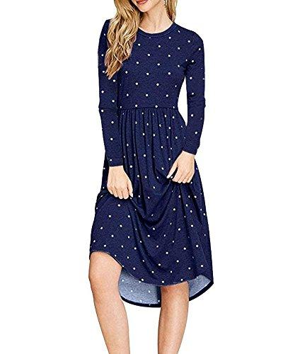 with Swing Dresses Sleeve Yacooh Blue Womens Polka Navy Dot Long Dress Fall Casual Midi Pockets EwEP8I