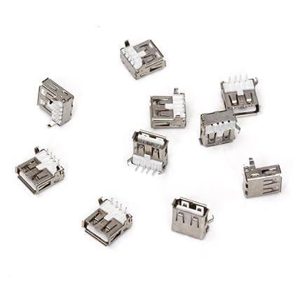 SODIAL (R) 10pcs USB tipo-A zocalo de 90 grados hembra de conector