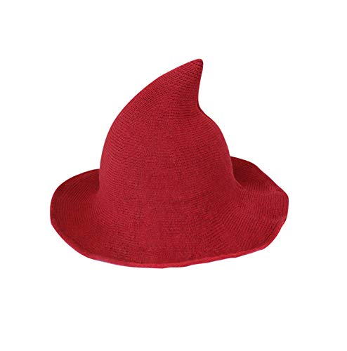 Kaariss Womens Witch Hat Knitted Wool Cap Halloween Party Masquerade Cosplay Costume Accessory Daily, Red -