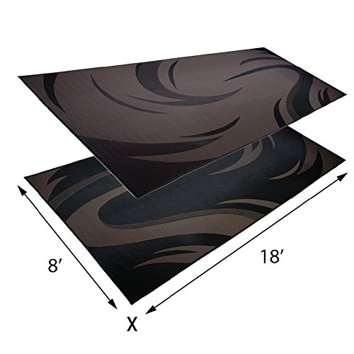 Stylish-Camping-Reversible-Outdoor-PatioRV-Camping-Mat-BlackBrown-8-Feet-x-18-Feet