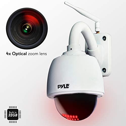 Outdoor IP Camera Optical Zoom – HD 960p w 32g SD Storage – Weatherproof Wireless WiFi Home Security Surveillance ONVIF H.264 – Outside PTZ Pan Tilt Dome and 4x Zoom PC iOS Android – Pyle PIPCAMHD47