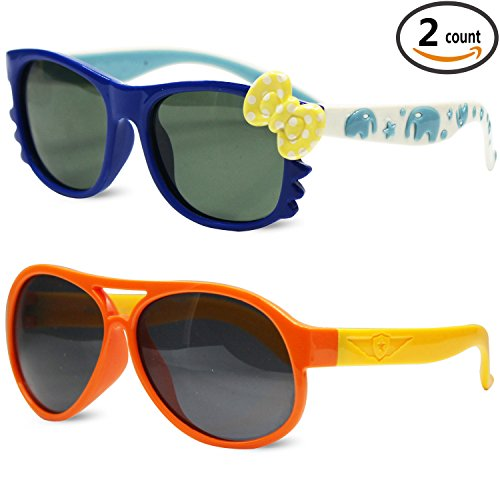 Sunggles Kids Polarized Sunglasses for Girls Age 3 to 10,Pack of 2