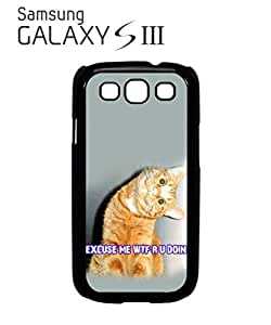 Cat Ginger Kitten WTF Meow Mobile Cell Phone Case Samsung Galaxy S3 Black by lolosakes