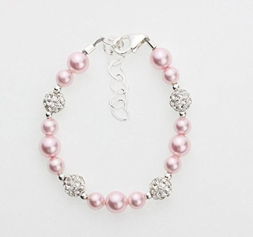 Crystal Dream Elegant Pave Beads with Pink Swarovski Simulated Pearls Stylish Sparkly Sterling Silver Infant Bracelet (BSHWP_M+) (Crystal Pave Set Beads)