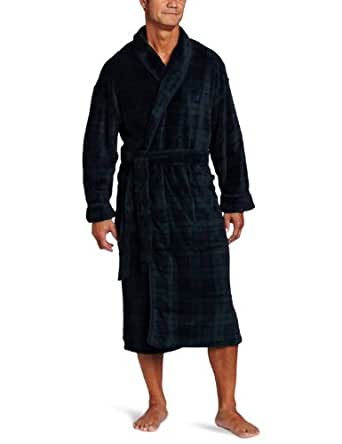 Nautica Men's Blackwatch Plaid Plush Robe, Ponder Pine, One Size