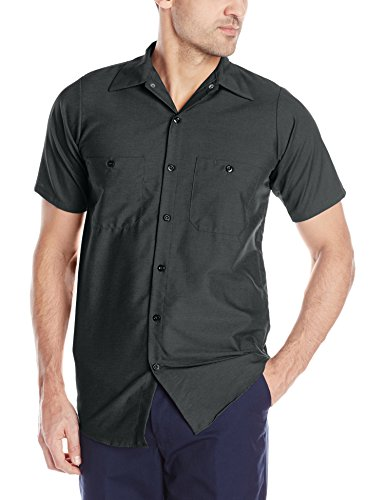 Red Kap Men's Industrial Work Shirt, Regular Fit, Short Sleeve, Charcoal, X-Large from Red Kap