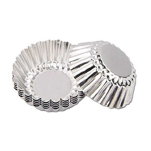 Gabkey 24 Pcs Aluminum Cups Baking Bake Muffin Cupcake Tin Mold Round Egg Tart Tins Mold