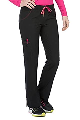 Med Couture Women's 'Activate' Color Block Scrub Pant, Black, Small - Color Shoes Pants