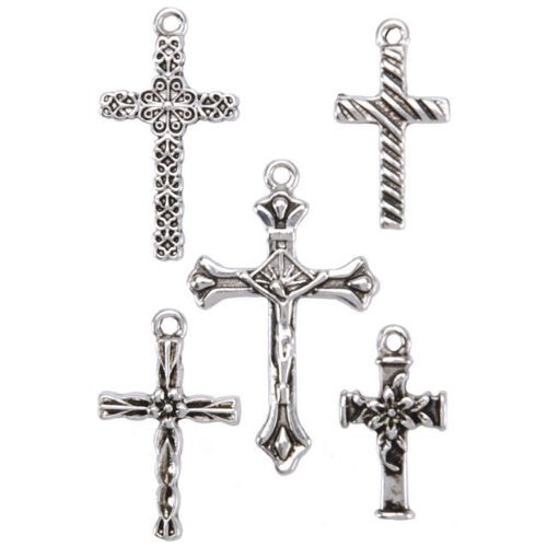 Blue Moon Angel Metal Charms-Crosses-Oxidized Silver 5/Pkg