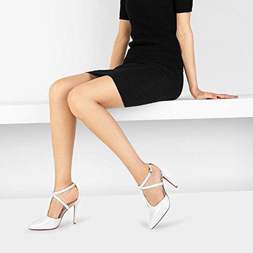 Noir UK4 Blanc Couleur Hauts Creux 10CM Sandales Escarpins Noir D'été Femmes Hauteur Loisirs Talon EU36 Emplois YXINY taille PU CN36 De TPR Blanc Chaussures Talons 8UBnanTwqz