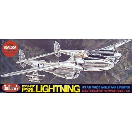 GUILLOW's P-38 Lightning 2001 Powered Balsa Flying Model Kit by Guillows