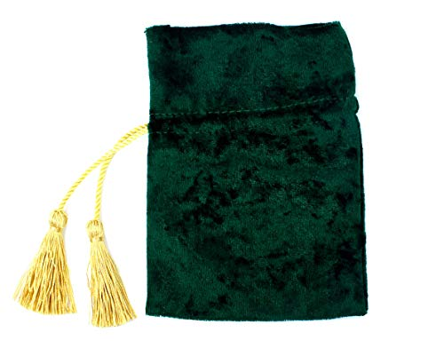 5PCS Tassel-Drawstring Velvet Pouches in Different Colors for Gift, Coin, Lipstick, Mirror, Jewelry (Emerald ()