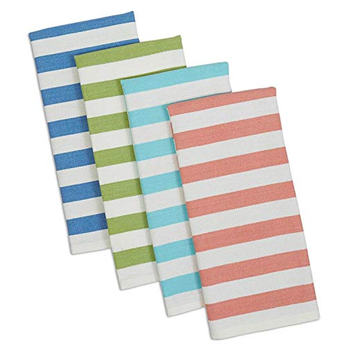 Design Imports Seashore Table Linens, 18-Inch by 28-Inch Dishtowel Gift Set, Set of 4, Cabana Stripe Heavyweight, 1 Blue, 1 Green, 1 Aqua and 1 Coral ()