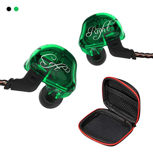 Andiker ZSR-C KZ in Ear Headphones 2BA+1DD Hybrid Earphones HiFi Stereo Bass Headset, Detachable Cable Noise Canceling Headphones for Music Enthusiast Running (No Mic, Green)