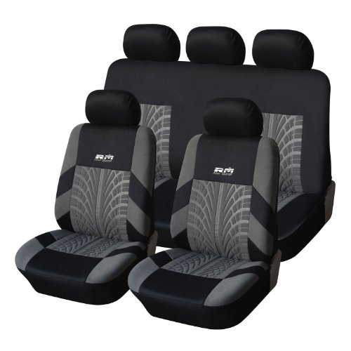3 Mm Crossover - Adeco Universal Fit Seat Covers (Grey on Black, 9 Pieces)