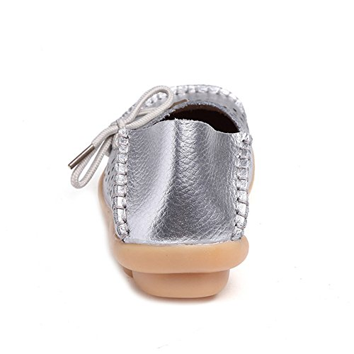 277fd9135f5c ... SCIEU Women s Lace Up Leather Loafers Casual Slip-On Driving Moccasins  Flats Shoes Silvery 2 ...