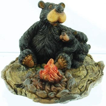 WD Willie Black Bear with Cub Sitting By Campfire Collectable Figure -